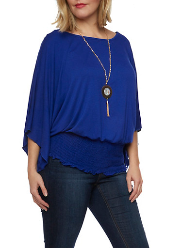 Plus Size Dolman Sleeve Top with Necklace,RYL BLUE,large