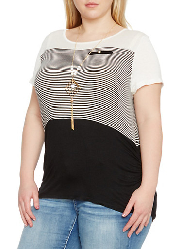 Plus Size Striped Color Block Top with Necklace,BLACK,large