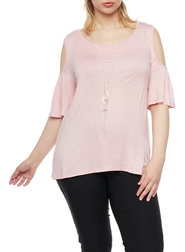 Plus Size Cold Shoulder Short Bell Sleeve Top with Necklace,MAUVE,large