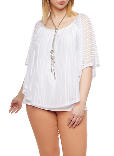 Plus Size Off the Shoulder Top with Overlay and Necklace,WHITE,large