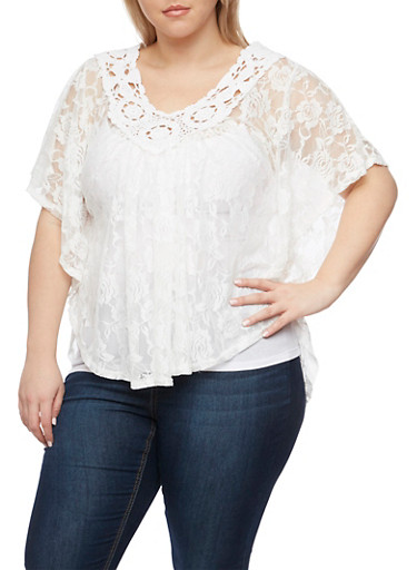 Plus Size Lace Circle Top with Crochet Neck,IVORY,large