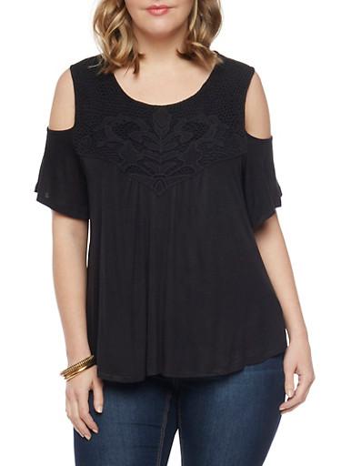 Plus Size Crochet Trimmed Cold Shoulder Top,BLACK,large
