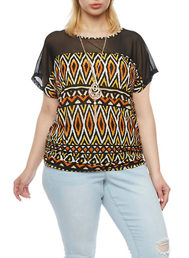 Plus Size Tribal Print Top with Mesh Paneling,MUSTARD-RUST,large
