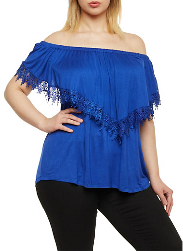 Plus Size Off the Shoulder Top with Lace Trim,RYL BLUE,large