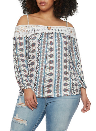 Plus Size Off the Shoulder Printed Top with Crochet Trim,IVORY PRT,large