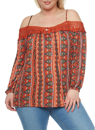 Plus Size Off the Shoulder Printed Top with Crochet Trim,RUST PRT,large