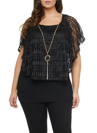Plus Size Lace Overlay Top with Necklace,BLACK,large