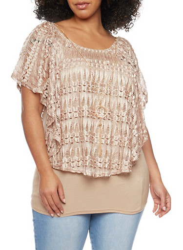 Plus Size Lace Overlay Top with Necklace,TAN,large