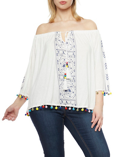Plus Size Off The Shoulder Peasant Top with Pom Pom Trim,IVORY,large