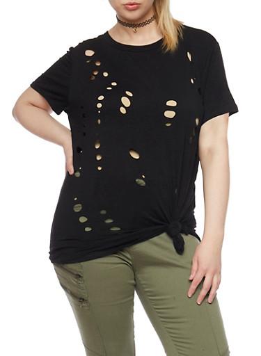 Plus Size Knotted Laser Cut T Shirt,BLACK,large