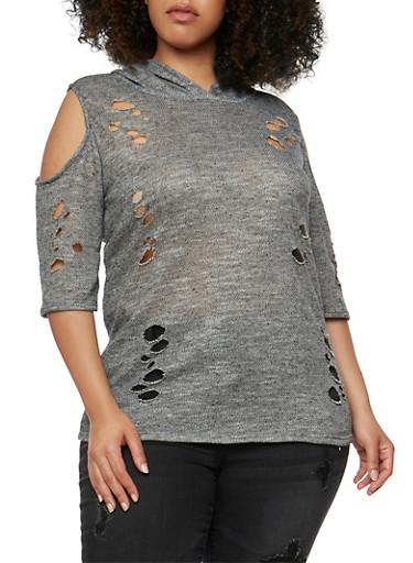 Plus Size Lasercut Cold Shoulder Hoodie,BLACK,large