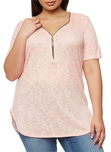 Plus Size Zip Front Rib Knit Tunic Top,CORAL,large