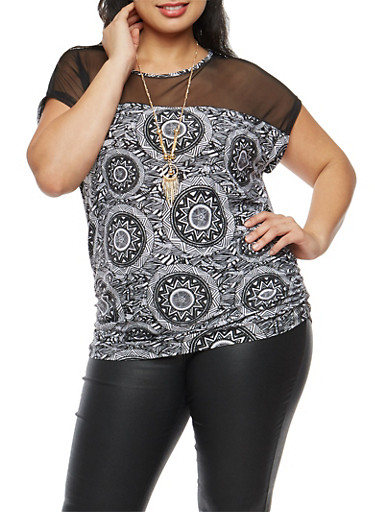 Plus Size Mesh Yoke Printed Top with Necklace,BLACK-OFF WHT,large