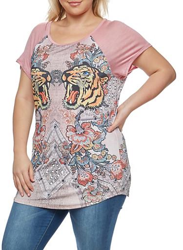 Plus Size Graphic T Shirt,MAUVE,large