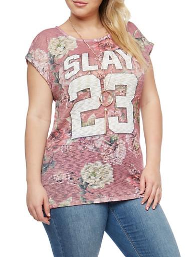 Floral Slay Graphic T Shirt,MAUVE,large