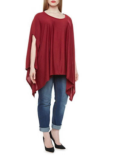 Plus Size Tunic Top With Shark Bite Hem,BURGUNDY,large