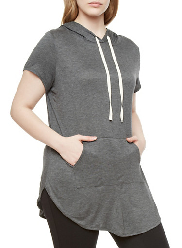 Plus Size Short Sleeve Hooded Knit Top with Kangaroo Pocket,GRAY,large