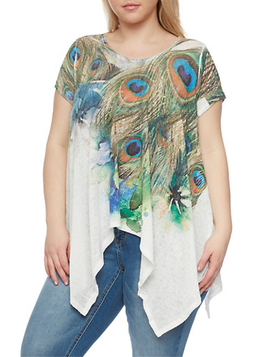 Plus Size Feather Printed Sharkbite Top,GREEN,large