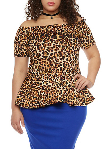Plus Size Off the Shoulder Peplum Top with Velvet Choker,BROWN,large