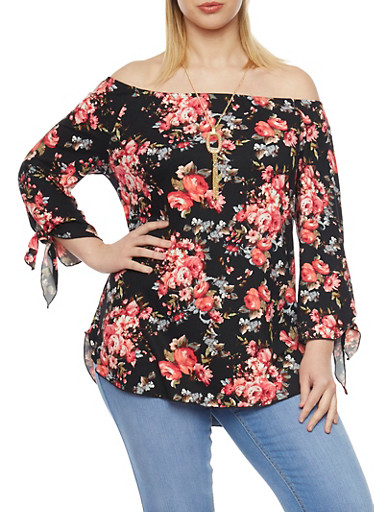 Plus Size Off the Shoulder Top in Floral Print with Necklace,BLACK,large