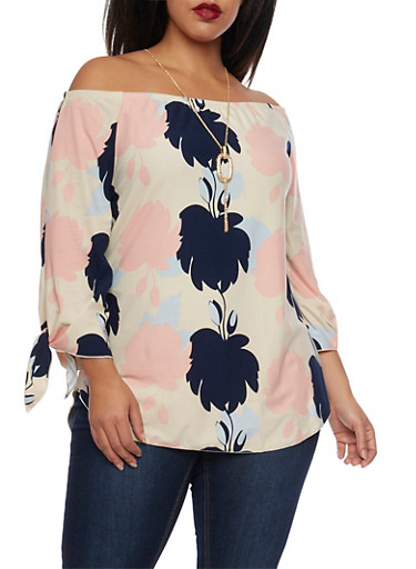 Plus Size Off Shoulder Top with Floral Print and Necklace,BLUSH PRT,large
