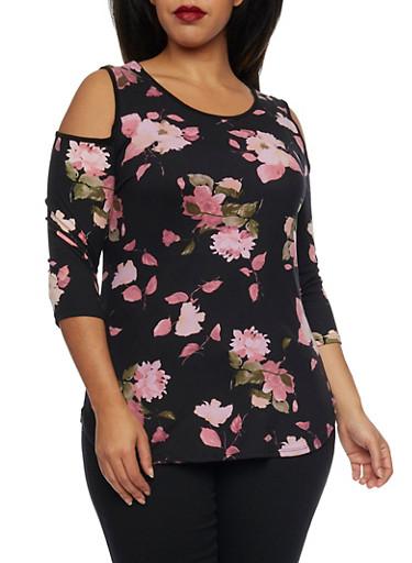 Plus Size Cold Shoulder Top in Floral Print,BLK PTN,large