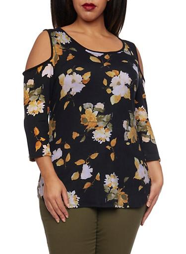 Plus Size Cold Shoulder Top in Floral Print,MUSTARD  PRT,large