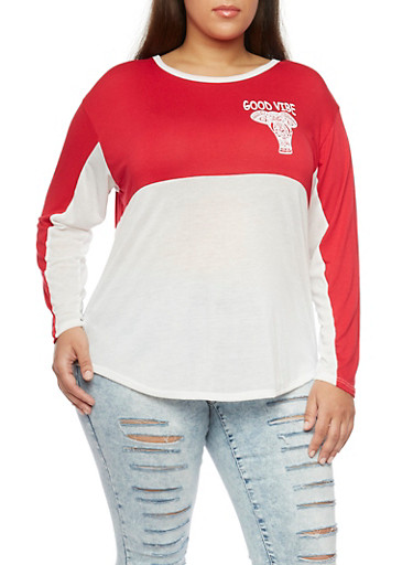 Plus Size Color Block Top with Good Vibe Elephant Print,WHITE/RED,large