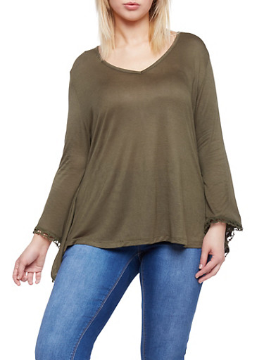 Plus Size V Neck Top with Crochet Bell Sleeves,OLIVE,large