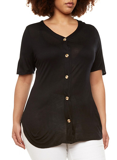 Plus Size Button Front Jersey,BLACK,large