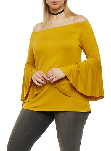 Plus Size Off the Shoulder Top with Flared Sleeves,MUSTARD,large