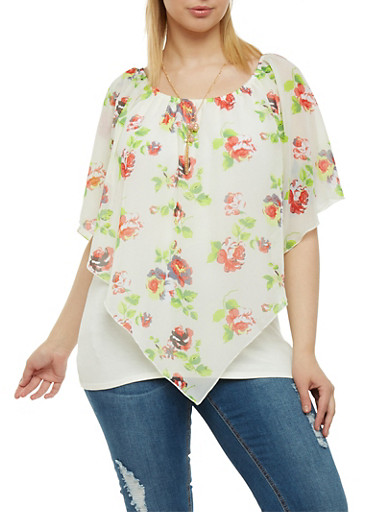 Plus Size Floral Print Envelope Hem Top with Necklace,IVORY GROUND,large