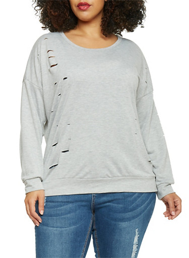 Plus Size Distressed French Terry Long Sleeve Top,GRAY,large