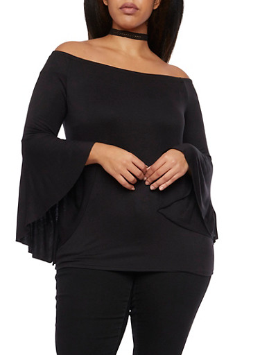 Plus Size Off the Shoulder Top with Bell Sleeves,BLACK,large