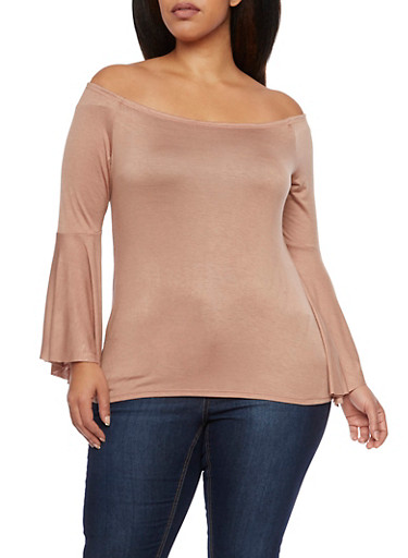 Plus Size Off the Shoulder Top with Bell Sleeves,COPPER,large