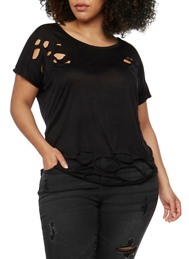 Plus Size Short Sleeve Lasercut T Shirt,BLACK,large
