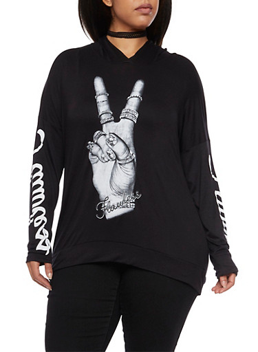 Plus Size Flawless Peace Graphic Hooded,BLACK,large