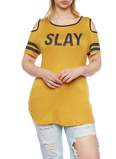 Plus Size Athletic Cold Shoulder Slay Tunic Top,MUSTARD,large