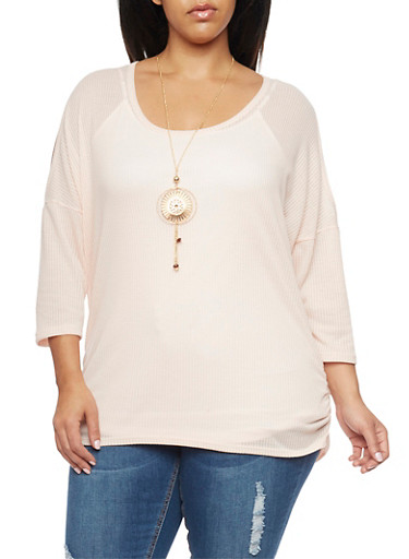 Plus Size Cold Shoulder Waffle Knit Top with Necklace,BLUSH,large
