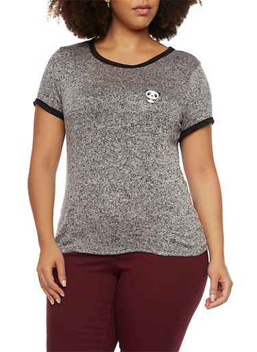 Plus Size Ringer Tee with Embroidered Panda,HEATHER,large