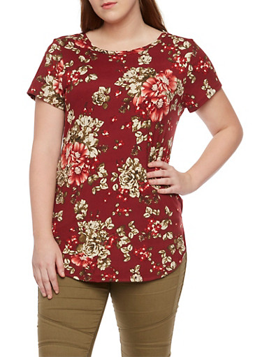 Plus Size Floral Top with Short Sleeves,BURGUNDY,large