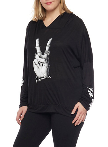 Plus Size Hoodie with Flawless Peace Sign Graphic,BLACK,large