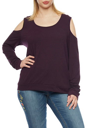 Plus Size Cold Shoulder Solid Long Sleeve Top,PURPLE,large