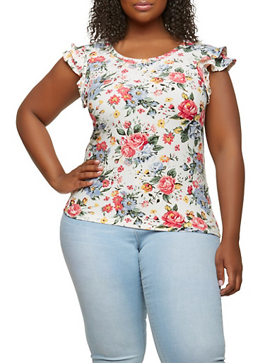 Plus Size Soft Knit Floral Top,IVORY,large