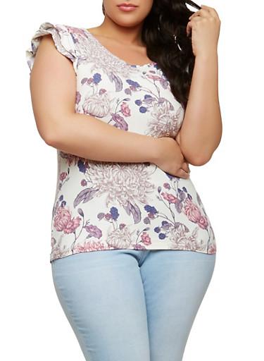 Plus Size Soft Knit Floral Top,IVORY,large