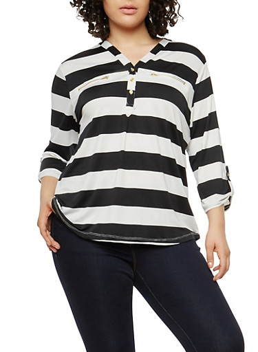 Plus Size Button V Neck Stripe Top,BLACK,large