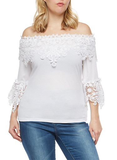 Plus Size Crochet Off the Shoulder Top,WHITE,large