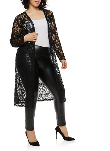 Plus Size Long Sleeve Lace Duster,BLACK,large