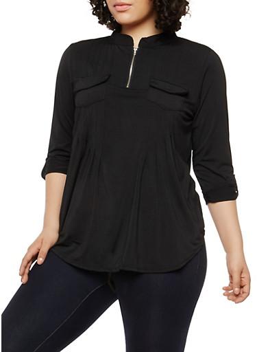 Plus Size Zip Neck Top,BLACK,large