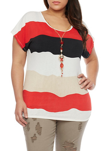 Plus Size Block Striped Short Sleeve Top with Necklace,RED,large